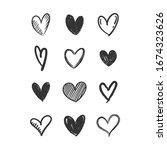 heart doodles collection. love... | Shutterstock .eps vector #1674323626