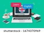 study english online on laptop... | Shutterstock . vector #1674370969