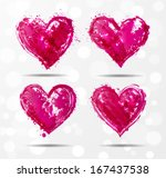 Four Grunge Pink Hearts On...