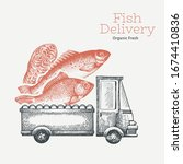 fish shop delivery logo... | Shutterstock .eps vector #1674410836