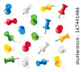 Set Of Push Pins In Different...