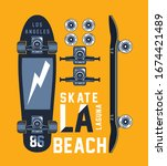skateboarding t shirt design.... | Shutterstock .eps vector #1674421489