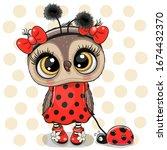 cartoon cute owl girl in a...   Shutterstock .eps vector #1674432370