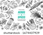 herbs and spices hand drawn... | Shutterstock .eps vector #1674437929