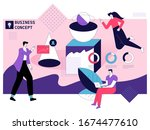 employee worker do work tasks ... | Shutterstock .eps vector #1674477610