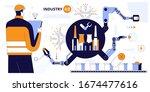 engineer using tablet to... | Shutterstock .eps vector #1674477616