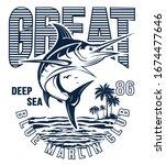 blue marlin fishing logo... | Shutterstock .eps vector #1674477646