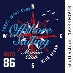 t shirt graphic print nautical... | Shutterstock .eps vector #1674480913