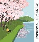 springtime cherry blossoms at... | Shutterstock .eps vector #1674487360