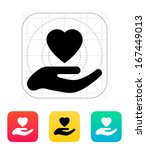 hand with heart icon. vector... | Shutterstock .eps vector #167449013