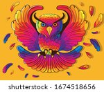 Flying Owl Color Sketch Rainbow ...