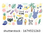 set of cute summer icons ... | Shutterstock .eps vector #1674521263