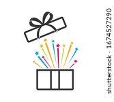 open gift box  icon vector... | Shutterstock .eps vector #1674527290