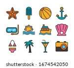bundle of beach set line and... | Shutterstock .eps vector #1674542050