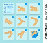 wash hands with water and soap... | Shutterstock .eps vector #1674546139