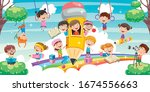 cute children playing at... | Shutterstock .eps vector #1674556663