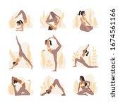 set of young girls doing yoga... | Shutterstock .eps vector #1674561166