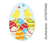easter egg with chicks.... | Shutterstock .eps vector #1674570460