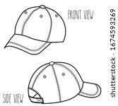 baseball cap sketch. black and... | Shutterstock .eps vector #1674593269