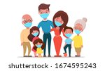 family wearing protective... | Shutterstock .eps vector #1674595243