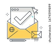 email related color line vector ...   Shutterstock .eps vector #1674599899