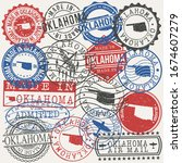 oklahoma  usa set of stamps.... | Shutterstock .eps vector #1674607279