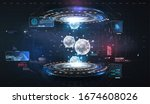futuristic user interface. 3d... | Shutterstock .eps vector #1674608026