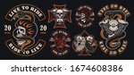 Set Of Colourful Biker Patches. ...