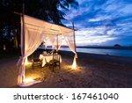 romantic dinner setup on the... | Shutterstock . vector #167461040