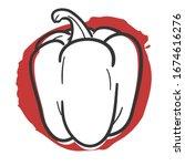 vegetable pepper traditional... | Shutterstock .eps vector #1674616276