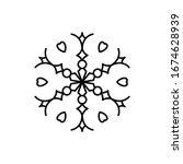 snowflake icon. simple line ... | Shutterstock . vector #1674628939