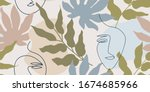 muted  beige and brown seamless ...   Shutterstock .eps vector #1674685966
