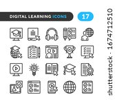 Digital Learning Line Icons....