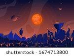landscape surface of planet sky ... | Shutterstock .eps vector #1674713800