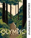 olympic national park vector... | Shutterstock .eps vector #1674734383