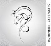 horse head silhouette in... | Shutterstock .eps vector #1674766540