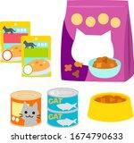 Illustration Set Of Cat Foods