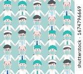 seamless pattern set of asian... | Shutterstock .eps vector #1674796669