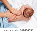 masseuse massaging 5 months... | Shutterstock . vector #167484356