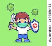 kid fight corona virus vector... | Shutterstock .eps vector #1674856453