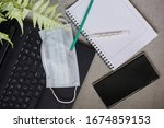 work in the home office during... | Shutterstock . vector #1674859153