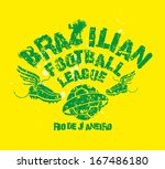 brazilian football retro style... | Shutterstock .eps vector #167486180