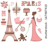 baby shower parisienne... | Shutterstock . vector #167487410