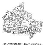 hand drawn doodle canada map.... | Shutterstock .eps vector #1674881419