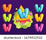 cartoon letter w. kids color... | Shutterstock .eps vector #1674922510