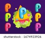 cartoon letter p. kids color... | Shutterstock .eps vector #1674923926