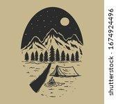 adventure wild life. vintage... | Shutterstock .eps vector #1674924496