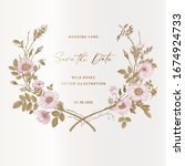 wreath with wild roses. wedding ... | Shutterstock .eps vector #1674924733