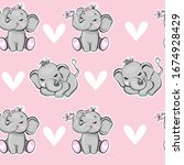 cute elephant with a pink... | Shutterstock .eps vector #1674928429