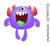 funny cartoon monster.... | Shutterstock . vector #1674947716